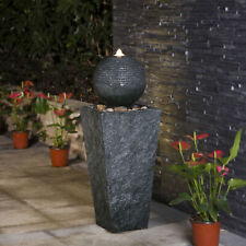 Glitzhome Rippling Floating Sphere Pedestal Outdoor Water Fountain w/ LED Lights