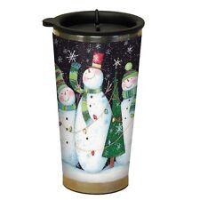 THREE SNOWMEN Christmas Winter Acrylic Travel Coffee Mug, 16 oz, by LANG
