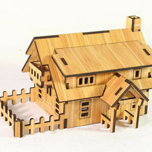 3D Wooden Puzzle DIY Handmade Furniture Miniature Dollhouse Building Toy R