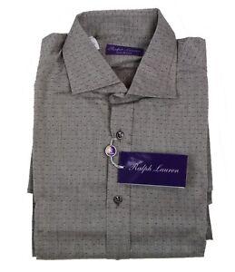 Ralph Lauren Purple Label Gray Diamond Jacquard Button Down Dress Sport Shirt