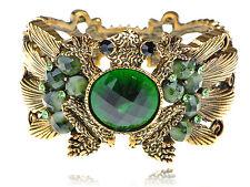 US Gold Fashion Green Crystal Rhinestone Frog Toad Bracelet Bangle Cuff