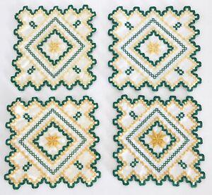 4 Hardanger Doilies Norwegian Embroidery Hand Made Green Yellow Lot
