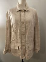 Eddie Bauer Womens Beige 100% Linen Button Down Blouse Jacket Pockets Sz XL
