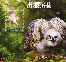 Central African Republic 2015 MNH Owls 1v S/S Birds of Prey Barn Owl