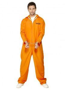 Escaped Prisoner Inmate Mens Womans Prison Orange Jumpsuit Uniform Costume Funny