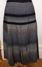 DAVID LAWRENCE Black Grey Striped A-line Box Pleat European Fabric Full Skirt 14