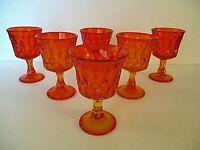 """RARE"" NORITAKE PERSPECTIVE TANGERINE GLASS WINE GLASSES set of 6"