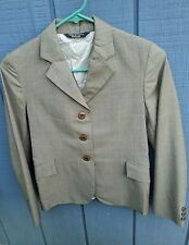 GRAND PRIX Girls 14 Slim Taupe w/Blue Box Plaid Horse Show Jacket Hunt Coat VGC