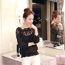 Fashion Women Summer  Loose Casual Chiffon Long Sleeve Lace T Shirt Tops Blouse