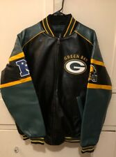 Nwt Nfl Team Apparel Mens Green Bay Packers PolyVinyl Football Jacket L Coat
