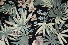 Tropical Floral Slipper Satin Apparel Fabric Leaf Green  BFab