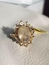 Stunning 925 Sterling Silver Natural Rutilated Quartz & Citrine Stones Ring Sz 9