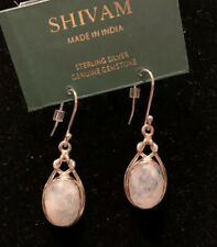"""Shivam Made in India .925 Sterling Silver Moonstone Earrings- New 2"""""""
