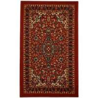 """Rubber Back Red Traditional Floral Non-Slip Door Mat Rug Red 1'6"""" x 2'6"""""""