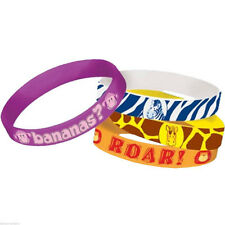 JUNGLE ANIMALS RUBBER BRACELETS (4) ~ Birthday Party Supplies Wristbands Favors
