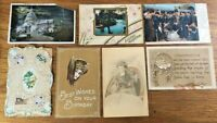 Lot 7 Vintage Postcards 1910-1922 Greetings Love Some Stamped Inscribed C125