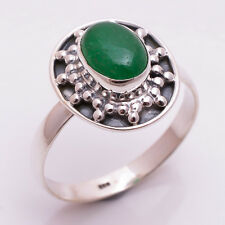 925 Sterling Silver Ring UK Size P, Natural Green Jade Handcrafted Jewelry R3303
