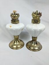Molded Pressed White Milk Glass Mini Small Oil Lamp Metal Base Lot of 2