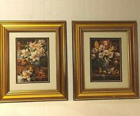 """Two Floral Art Prints with Gold Frame and Matte Still Life 11x13"""""""