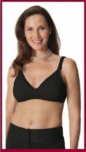 New Glamourmom Maternity Mpress Nursing Lace Trim Wire Free Black Microfiber Bra