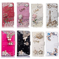3D Luxury Bling Diamond Crystal Leather Flip Wallet Stand Cards Strap Case Cover