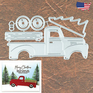 Christmas Vintage Truck with Evergreen Tree Cutting & Embossing Dies - Farmhouse