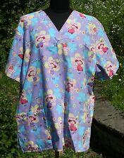 Womens Strawberry Shortcake Sz 2XL Nurse Scrub Top V-neck 4 Pockets Short Sleeve