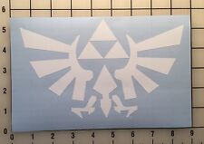 "The Legend Of Zelda Emblem 8"" Wide White Vinyl Decal Sticker - Free Shipping"