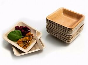 Disposable Square 11cm Palm Leaf Plates - Natural Dinner Party Wedding Bamboo