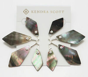Kendra Scott Malika Statement Earrings in Black Pearl Bright Silver
