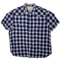 Lucky Brand Mens XXL Blue White Plaid Short Sleeve Pearl Snap Button Up Shirt