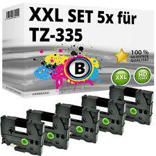 5x Farbband für Brother P-Touch PT E100 1010 1230 H100R H300 D200 H105 TZ-335