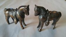 "Vintage Pair Miniature Copper Horse & Saddle Figurines 2.5"" Tall"