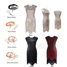 1920s Dress Flapper Great Gatsby Charleston Gown Party Sequin Fringe 20s Dresses