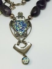 Sterling Silver Roman Glass Pendant Amethyst Chunky Beaded Necklace