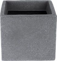 Cube Planters Plant Pot Grey Stone Effect 20cm Square Windowbox Indoor Outdoor