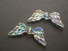 100 ANGEL AB Clear ANGEL WINGS acrylic plastic loose beads