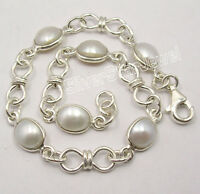 """925 Pure Silver Natural AAA FRESH WATER PEARL WELL MADE Bracelet 8"""" HANDCRAFTED"""