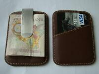 NEW ULTRA SLIMLINE PREMIUM LEATHER MONEY CLIP & CREDIT CARD HOLDER MEN'S GIFT