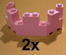 Lego 2 x Pink Castle battlements 4x8x2 1/3 Pink Castle Turret Top
