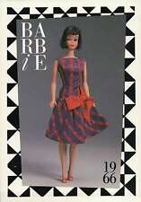 """Barbie Collectible Fashion Trading Card """" Beau Time """" Big Red Bow Dress 1966"""
