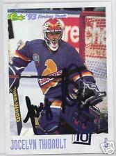 JOCELYN THIBAULT Quebec Nordiques 1993 CLASSIC  AUTOGRAPHED HOCKEY CARD JSA