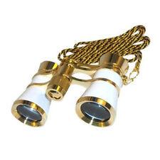 HQRP Prismáticos Binoculares de Teatro 3 x 25 blanco nacarado con cadena dorada