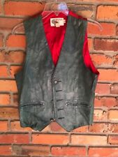 Vintage Silton Green Glove Leather Western Style Vest Size 38