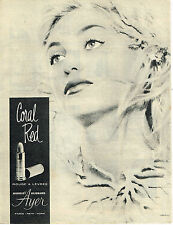 PUBLICITE ADVERTISING 015  1957  HARRIET HUBBARD AYER  rouge à lèvres CORAL RED