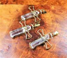 Quartz Crystal Cross Necklace - Gemstone Point Pendant - Gold Wire (LR78)