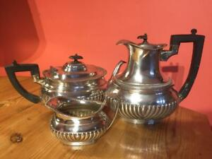 Antique Silver Plate EPNS Lee & Wigfull Teapot Water Jug and Milk or Cream Jug