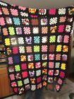 Vintage Crochet Granny Square Black Afghan Throw Blanket Handmade 47