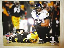 Ray Lewis Sacking Big Ben  Autograph 16 X 20 Photo BLUE Ink JSA Authentic