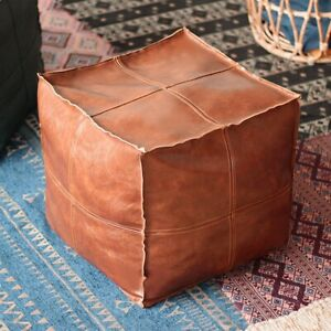 Faux Leather Pouf Ottoman Moroccan Footstool Square Boho Style Unstuffed Seat